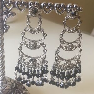 Silver and black Boho dangle earrings